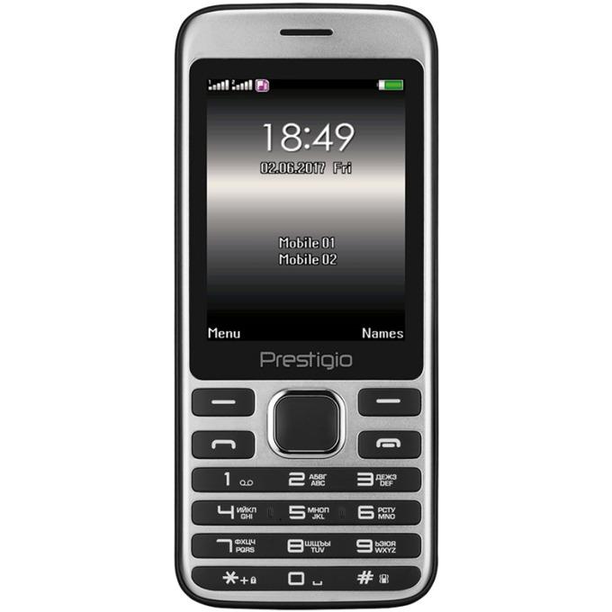 "GSM Prestigio Grace A1 (черен), поддържа 2 sim карти, 2.8""(7.11 cm) LCD дисплей, MT6261D, 32MB RAM, 32MB Flash памет (+ MicroSD слот), 0.3 MPix камера, Bluetooth, 210 g image"