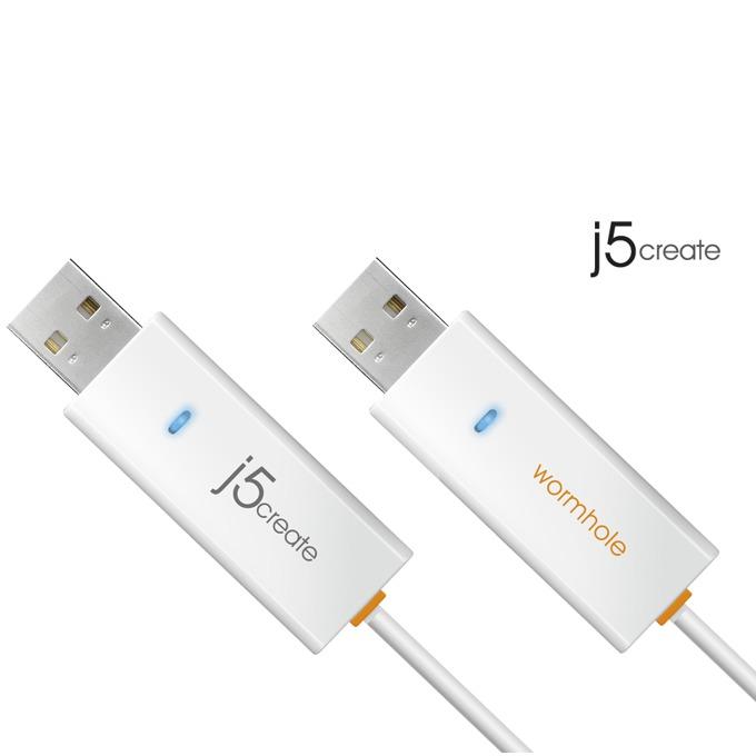Кабел j5create JUC400 Wormwhole, USB A(м) към USB А(м), 1.8m, бял image