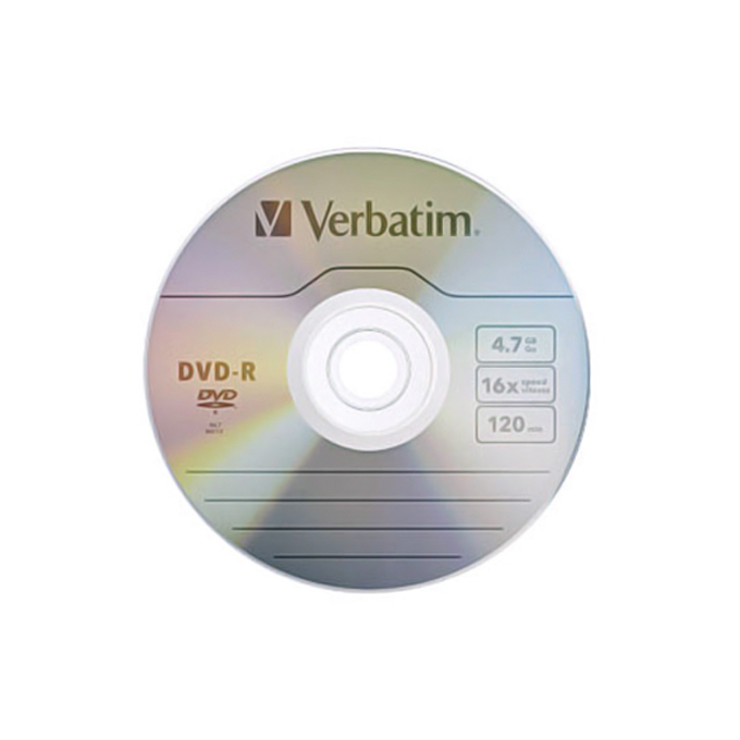 Оптичен носител DVD-R media 4.7GB Verbatim, x16 image