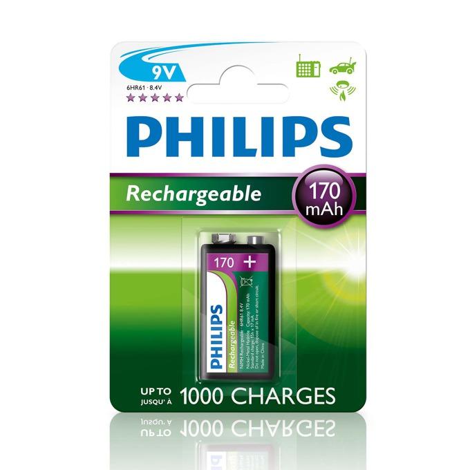 Батерии 1x Philips Rechargeable 9V, 170mAh image