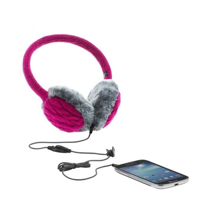 Слушалки KitSound Audio Earmuffs, с ушанки, розови, микрофон image