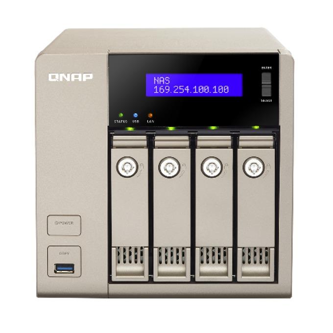 """Qnap TVS-463-4G, четириядрен AMD G-series GX-424CC 2.4GHz, без твърд диск (4x 3.5""""or 2.5""""SATA 6Gb/s, SATA 3Gb/s hard drive or SSD), 4GB DDR3L, 2x Lan1000, 2x HDMI, 5x USB 3.0 image"""