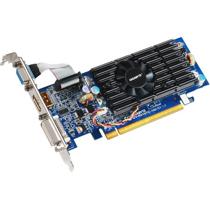 Видео карта GF GT 210, 1GB Gigabyte N210D3-1GI, PCI-E, DDR3, 64bit, HDMI & DVI image