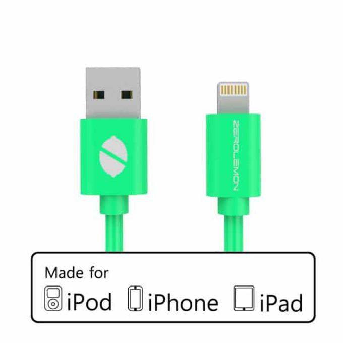 Кабел ZeroLemon USB A(м) към USB Lightning, 2m, зелен image
