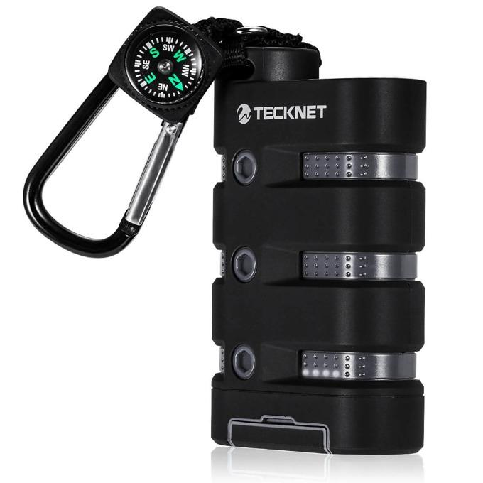 Външна батерия/power bank TeckNet iEP900 WaterProof, 9000mAh, сива, водо и удароустойчива, фенерче и компас, за смартфони и таблети image