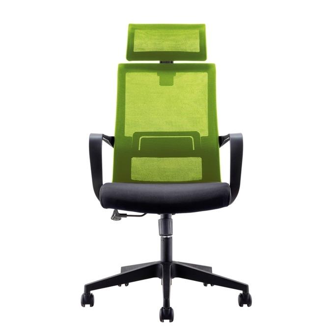 Директорски стол RFG Smart HB, дамаска и меш, черна седалка, зелена облегалка image