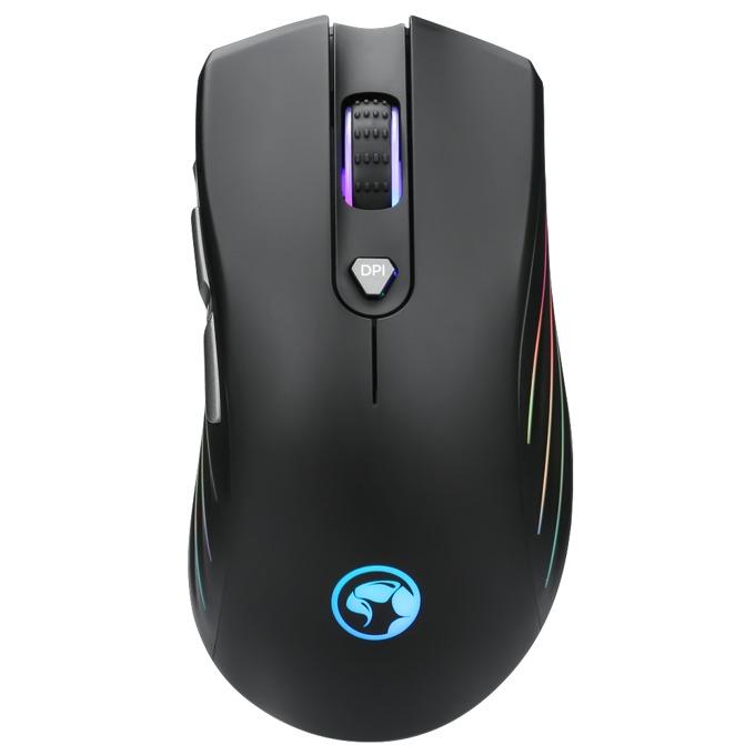 Мишка Marvo G813 с подарък подложка за мишка Marvo G5 - S, оптична (7200 DPI), USB, черна, RGB, геймърска image