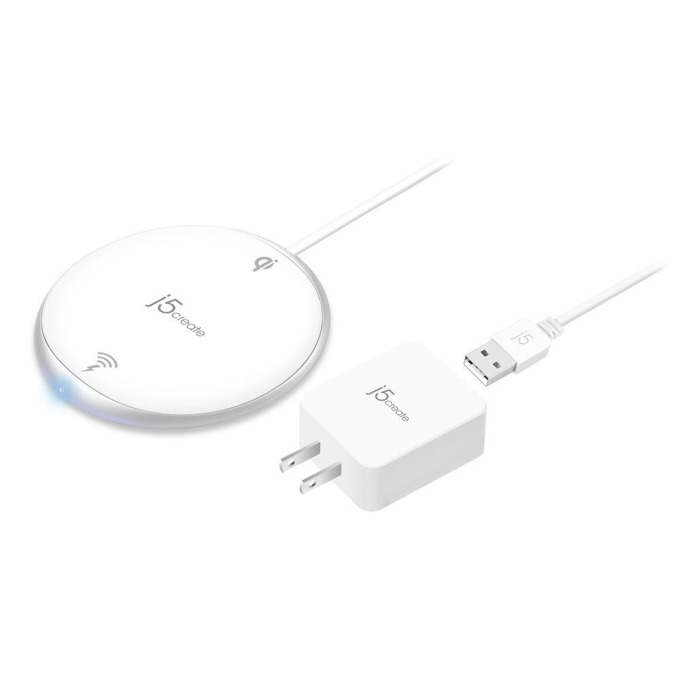 Безжично зарядно устройство j5create JUPW1101, oт контакт към безжично зарядно, 5V/1A/1.5A/9V/1.1A, 1000/2000/3000 mA, черно, Qi технология, 10/7.5/5W image