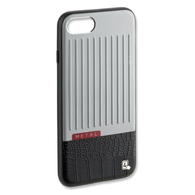 Калъф iPhone 7,8 (универсален), удароустойчив, полимер, 4smarts Salzburg Clip Case, черен-сребрист image