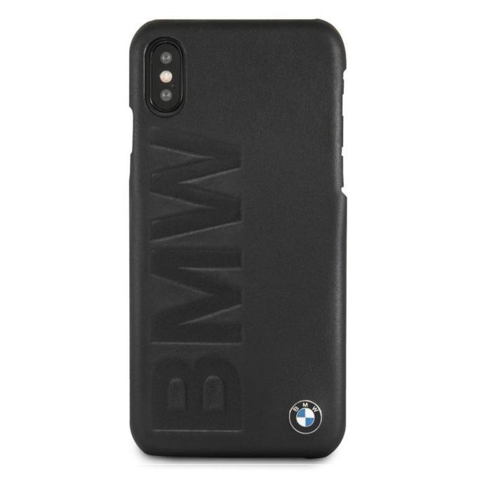 Калъф Apple iPhone X, страничен протектор с гръб, висококачествена естествена кожа и поликарбонат, BMW Signature Debossed Leather Logo Case, черен image