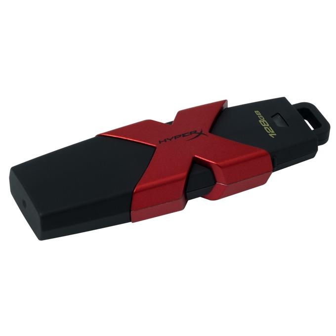 128GB USB Flash Drive, HyperX SAVAGE, USB 3.1, черно/червена  image