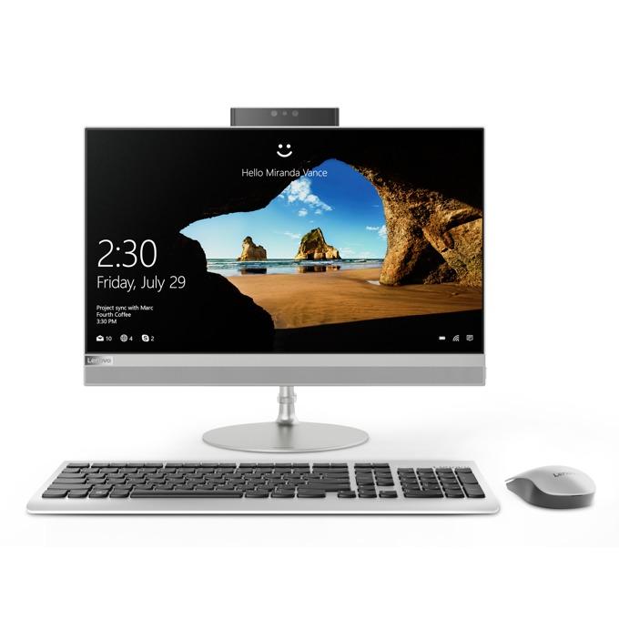 "All In One компютър Lenovo IdeaCentre AIO 520 (F0DT0045BG)(сребрист), шестядрен Coffee Lake Intel Core i5-8400T 1.7/3.3 GHz, 21.5"" (54.61 cm) Full HD IPS Anti-Glare Display, (HDMI), 4GB DDR4, 1TB HDD, 1x USB 3.1 Type C, Free DOS  image"