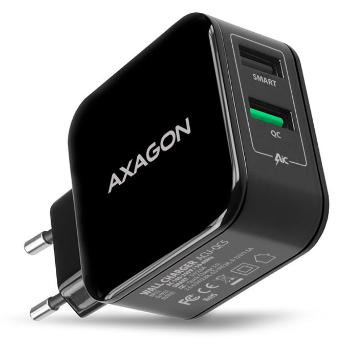Зарядно устройство AXAGON ACU-QC5, от контакт към 2x USB Type A (ж), 5V/1A, 5V / 2.6A, черно image