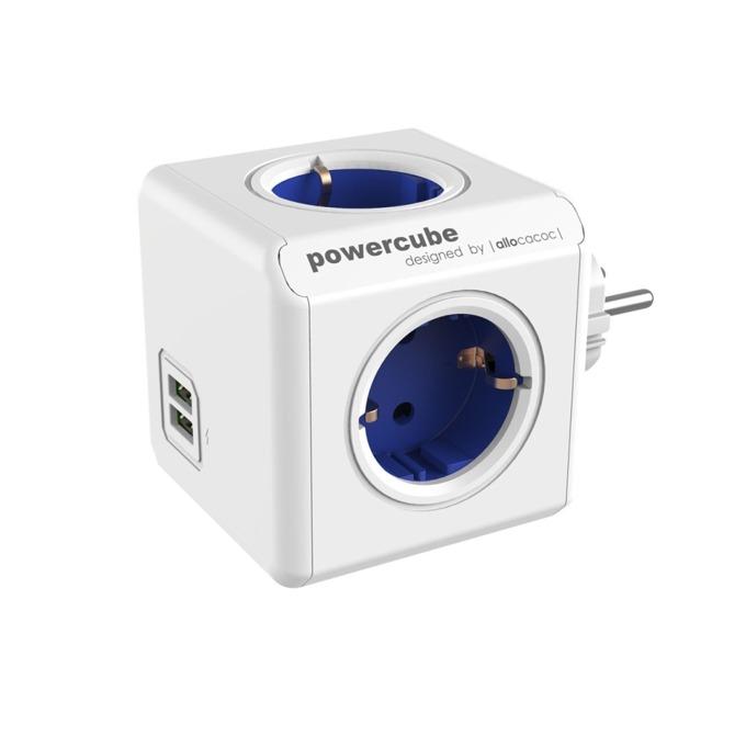 Разклонител Allocacoc Power Cube 1202BL, 4 гнезда, 2x USB, защита от деца, бял/син image