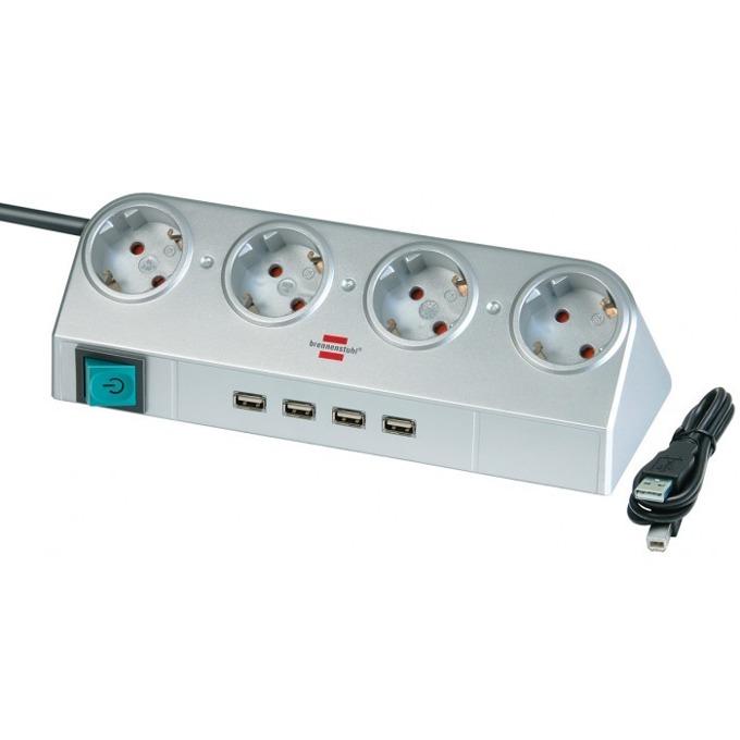 Разклонител Brennenstuhl USB, 4 гнезда-4x USB, обезопасени спрямо деца контакти, 1,8m, сив image