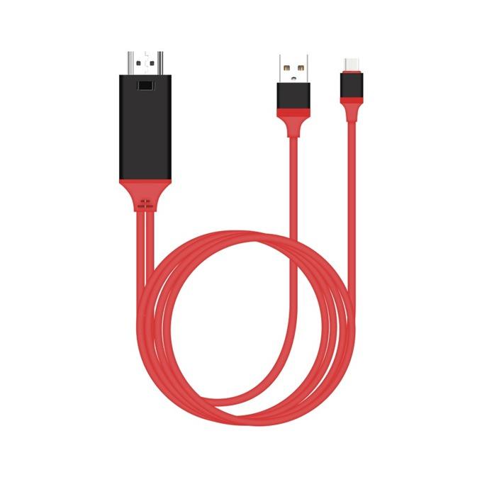 Кабел Earldom WS8C, от USB Type C към HDMI и USB, 2.0m, червен image