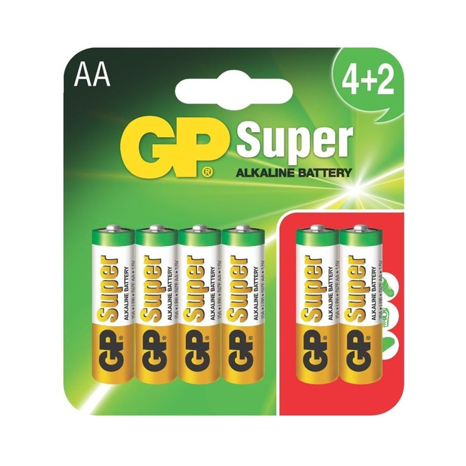 Батерия алкална GP Batteries GP-BA-SUP-LR6-4+2, AA, LR6, 1.5V, 6(4+2)бр. image