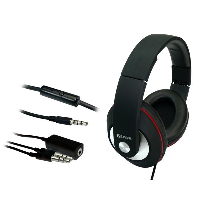 Слушалки Sandberg Play'n Go 125-86, микрофон, бутон за разговори, сваляем 1.5м кабел, черни image