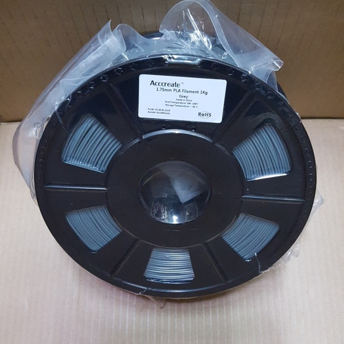 Консуматив за 3D принтер Acccreate, PLA filament, 1.75mm, сив, 1kg image