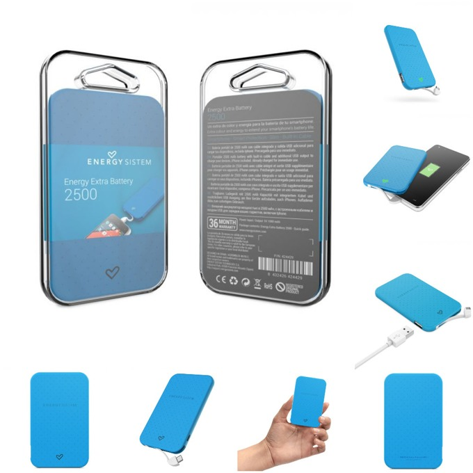 Външна батерия/power bank/ Energy Sistem Portable Battery Mint, 2500 mAh, синя, LED индикатор за зареждане image