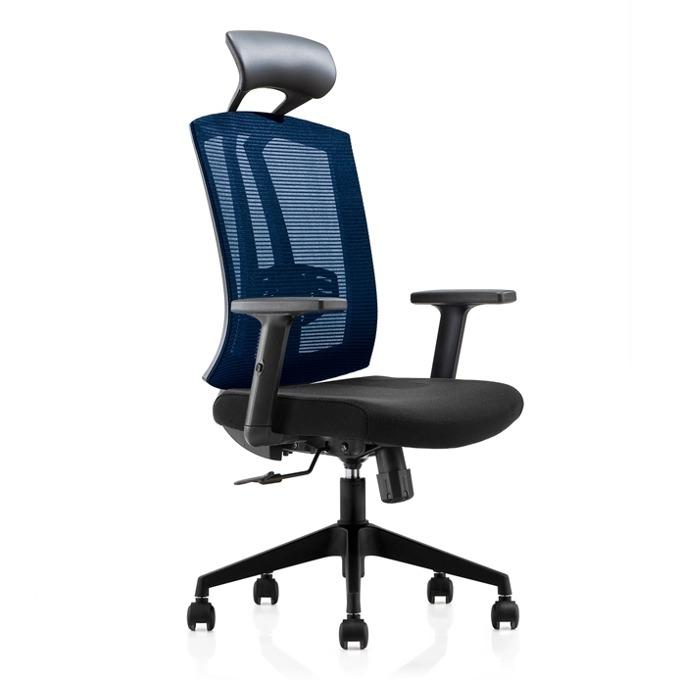 Директорски стол RFG Brixen HB, дамаска и меш, черна седалка, синя облегалка image