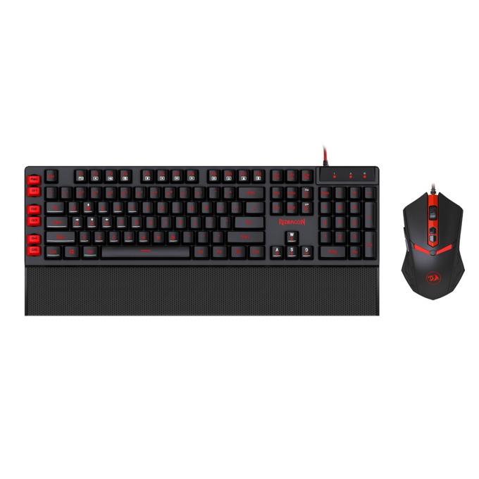 Комплект клавиатура и мишка Redragon Yaksa & Nemeanlion Combo, 7 цвята подсветка, гейминг, оптична мишка (3000 dpi), USB, черни image