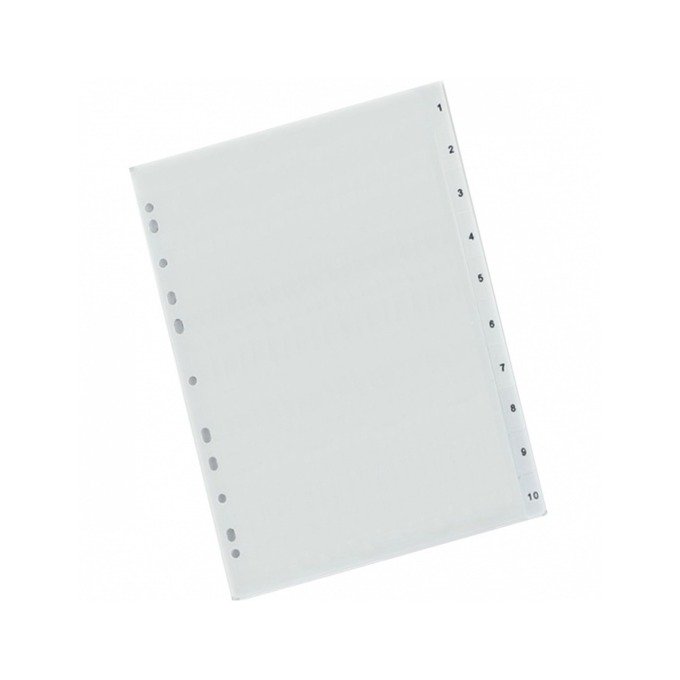 Разделител Exxo, за документи с формат до А4, с номерация от 1 до 10, бял image