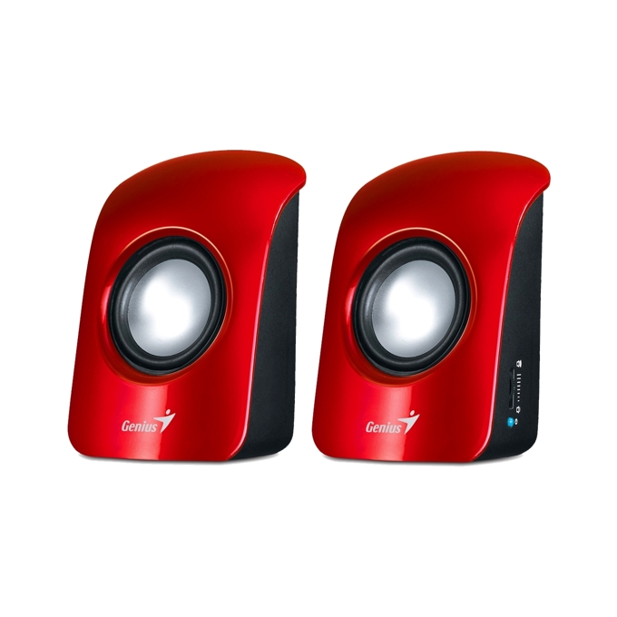 Тонколони Genius SP-U115, 2.0, RMS 3W (1.5W + 1.5W), 3.5mm jack, червени, захранване през USB image