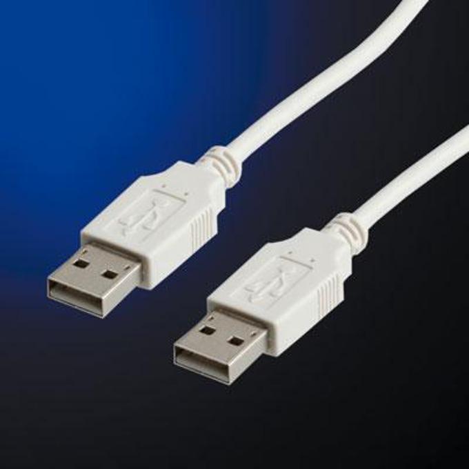 Кабел Roline 11.99.8919, USB A(м) към USB А(м), 1.8m, бял image
