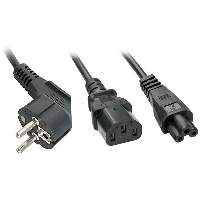 Захранващ кабел Lindy 30047, от Schuko(м) към към 1 x C13/C5(м), 2m image