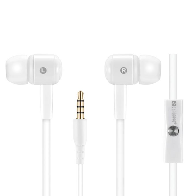 Слушалки Sandberg Speak'n Go, микрофон, 3.5 mm жак, бели image