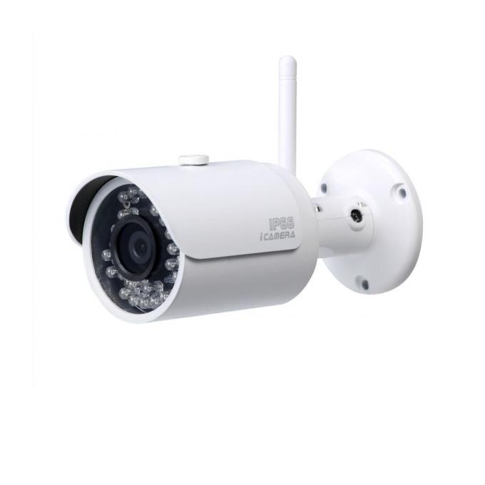 """IP камера Dahua HFW1000SP-0360B-W, насочена """"bullet"""", 1 Mpix(1280x720@25FPS), 3.6mm обектив, H.264/H.264B/H.264H/MJPEG, IR осветеност (до 30 метра), външна IP66, безжична Wi-Fi(802.11b/g/n) RJ-45 image"""