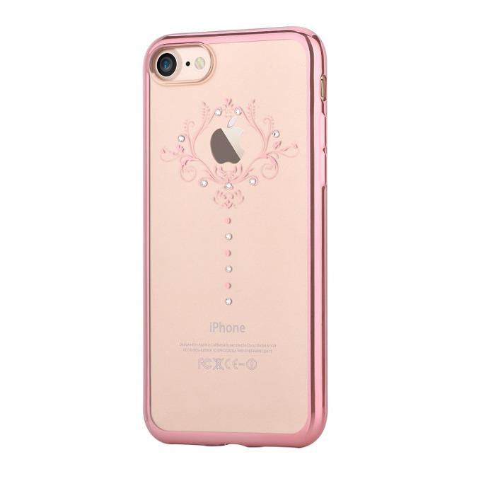 Калъф за Apple iPhone 7+, страничен протектор с гръб, силикон, Devia Crystal Iris, с кристали Сваровски, розов image