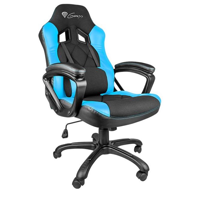Геймърски стол Natec Genesis SX33, кожен, клас 3 газов амортиьор, черен/син image
