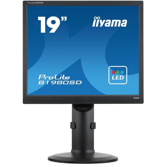 "Монитор IIYAMA B1980SD-B1, 19"" (48.26 cm) TN панел, SXGA, 5ms, 12000000:1, 250 cd/m2, DVI, VGA image"