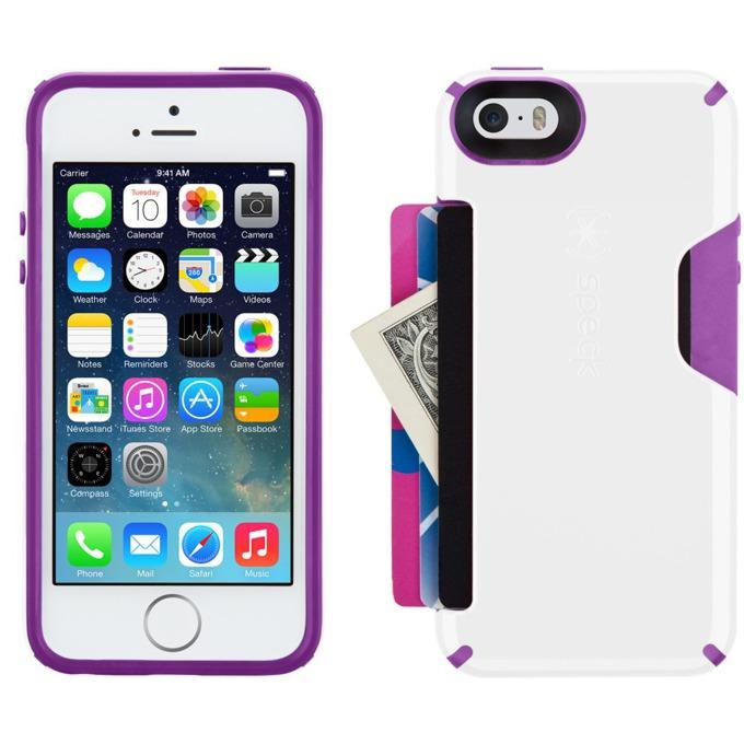 Страничен протектор с гръб Speck CandyShell Card за iPhone 5/5S/SE, бял/лилав image