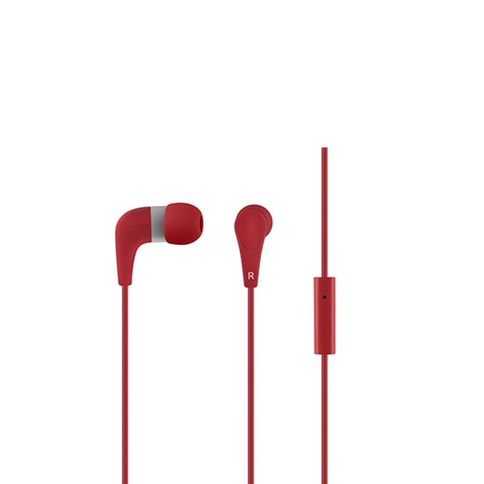 "Слушалки Acme HE15R, тип ""тапи"", микрофон, 20 Hz – 20 kHz, 1.30m кабел, позлатен конектор, червени image"