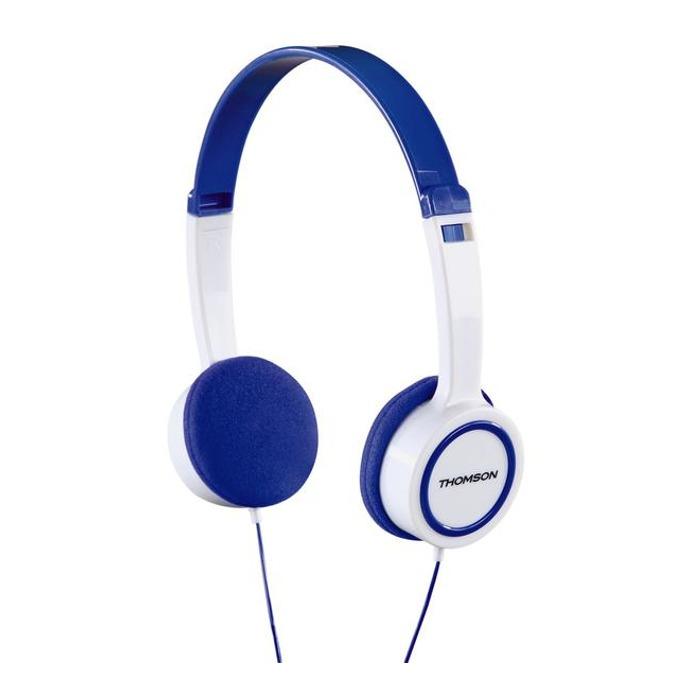 Слушалки Thomson HED1105BL, микрофон, Бял / Син image