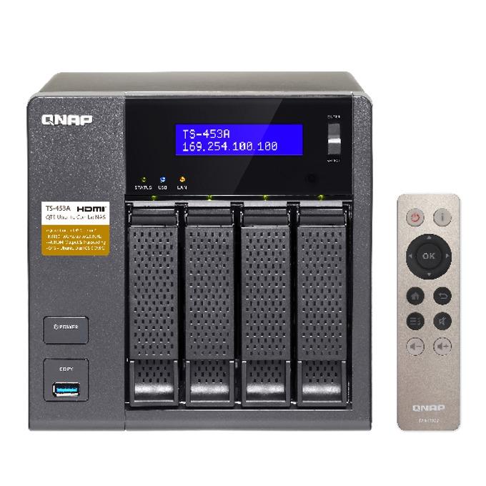 """Qnap TS-453A-4G, четириядрен Intel Celeron 1.6 GHz, без твърд диск (4x 3.5"""" or 2.5"""" SATA 6Gb/s, SATA 3Gb/s hard drive or SSD), 4GB (2x2GB), 4x Lan1000, 2x HDMI, 4x USB 3.0 image"""