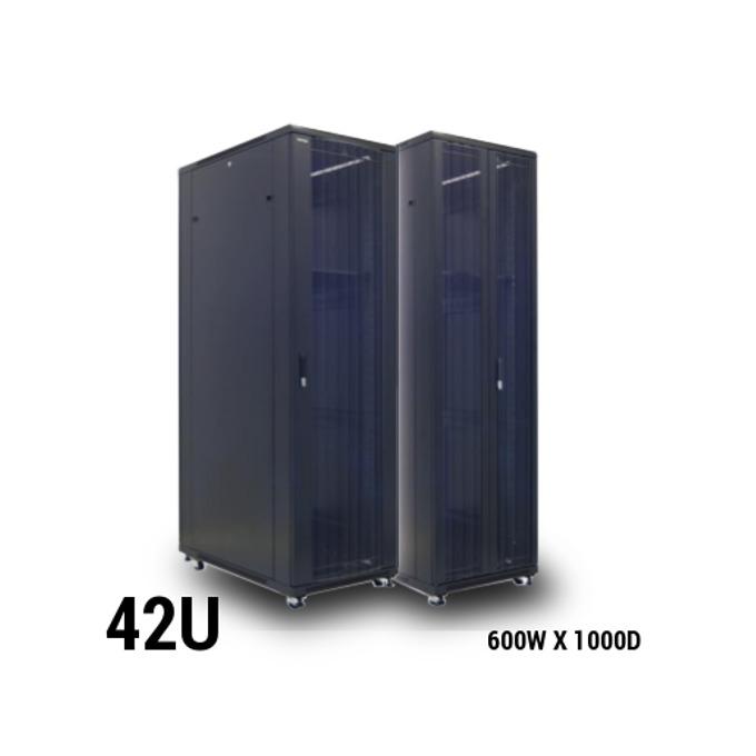 Комуникационен шкаф Toten AD, 42U, 600x1000 мм, до 800кг товароносимост, перфорирана двойна врата, черен image
