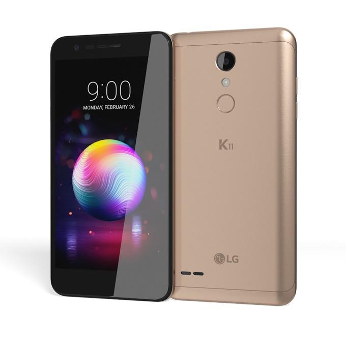 "LG K11 (златист), поддържа 2 sim карти, 5.3"" (13.46cm) HD IPS Display, осемядрен Mediatek MT6750, 2GB RAM, 16GB Flash памет (+microSD слот), 13.0 & 8.0 MPix camera, Android 7, 162g image"