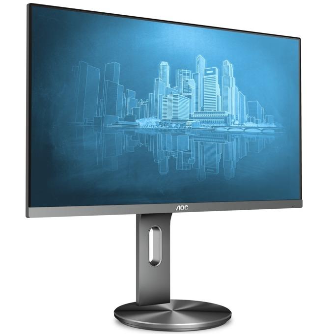 """Монитор AOC I2490PXQU/BT, 23.8""""(60.45 cm), IPS LED панел, FullHD, 4ms, 100000000 :1, 250 cd/m2, HDMI, DisplayPort, VGA, сив image"""