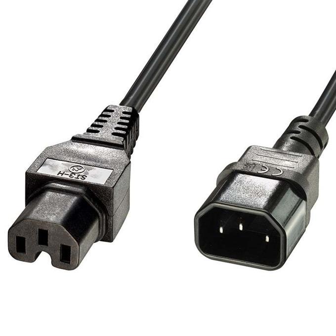 Захранващ кабел Lindy 30314, от IEC C14(м) към към 1 x IEC C15(ж), 2m image