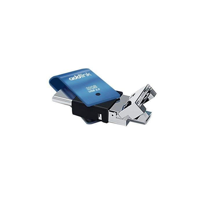 Памет 32GB USB Flash Drive, Addlink T80 3-in-1, USB Type C/MicroUSB Type B/USB Type A, черна/синя image