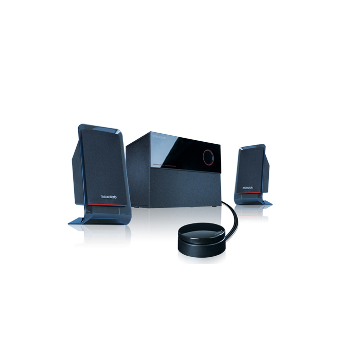 Тонколона Microlab M-200, 2.1, 40W, 3,5mm jack stereo, черна, кабелно дистанционно управление за лесен контрол за набиране и манипулиране на силата на звука и бързо свързване със слушалки  image