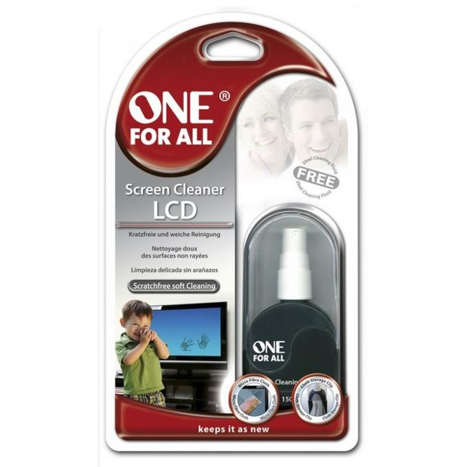 Почистващ препарат ONE FOR ALL, за LCD, LED екрани, микрофибърна кърпа image