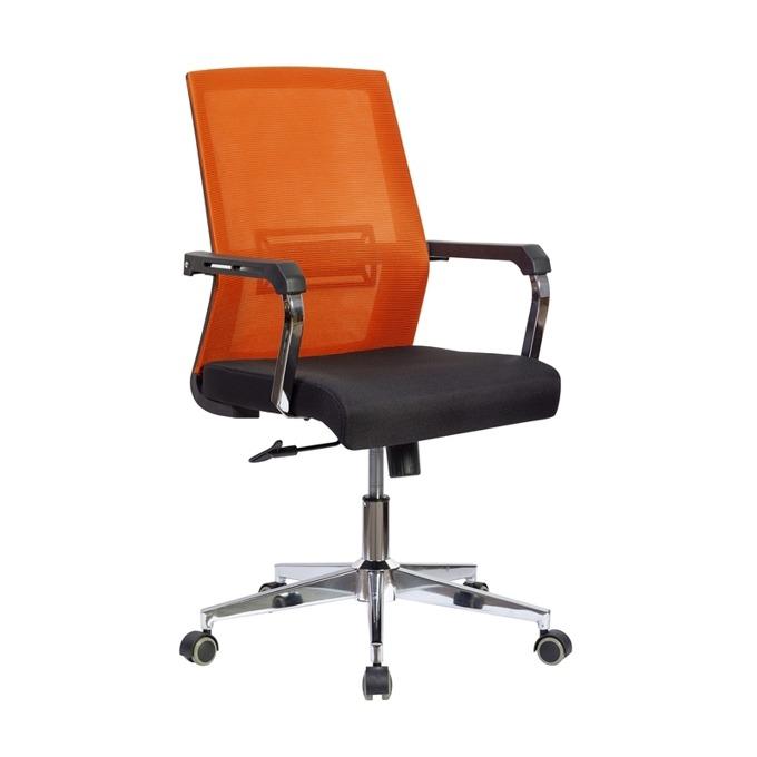 Работен стол RFG Roma W, дамаска и меш, черна седалка, червена облегалка image
