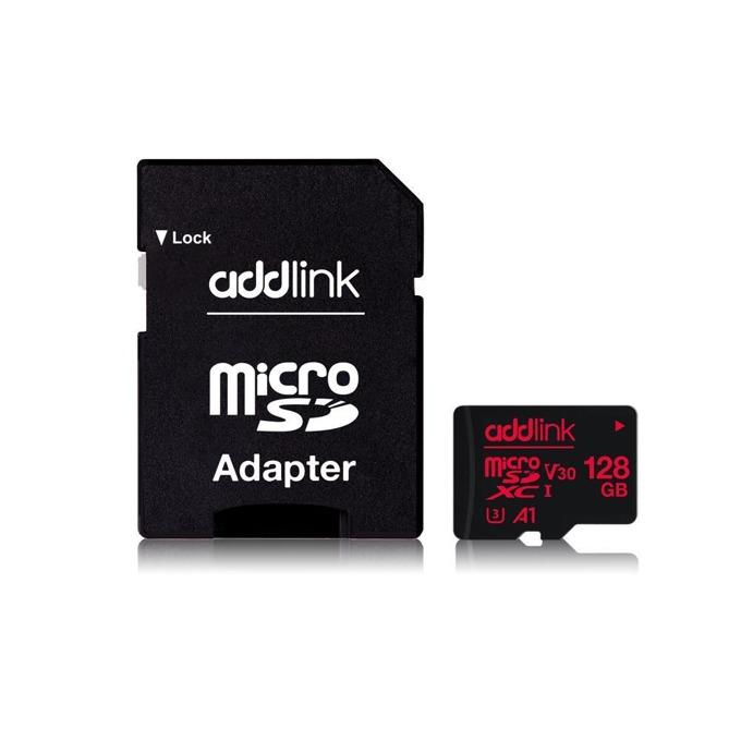 Карта памет 128GB microSDXC с адаптер, Addlink Professional, Class 10 UHS-I, скорост на четене 100 MB/s, скорост на запис от 45 MB/s image