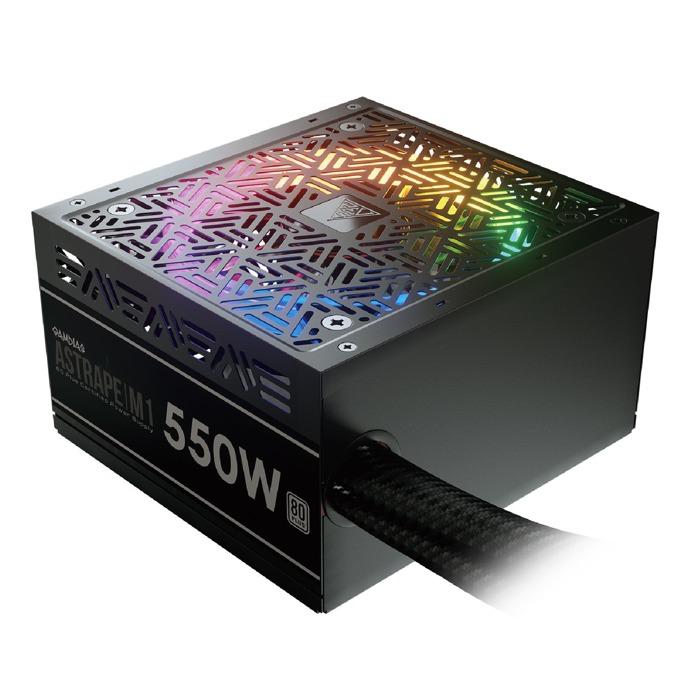 Захранване Gamdias ASTRAPE M1-550W, 550W, Active PFC, 80 Plus, 120mm вентилатор, RGB подсветка image