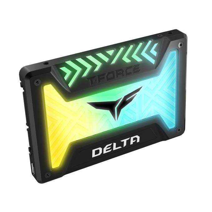 "Памет SSD 500GB Team Group DELTA RGB, SATA 6Gb/s, 2.5"" (6.35 cm), скорост на четене 560MB/s, скорост на запис 500MB/s, RGB подсветка, черен image"